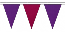 PURPLE AND CLARET TRIANGULAR BUNTING - 10m / 20m / 50m LENGTHS